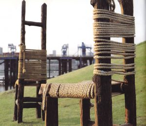Julienne Dolphin Wilding Four Pairs of Chairs and a Fence 1990