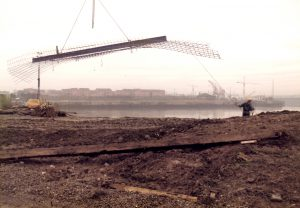 Steel work to reconstruct the new quayside